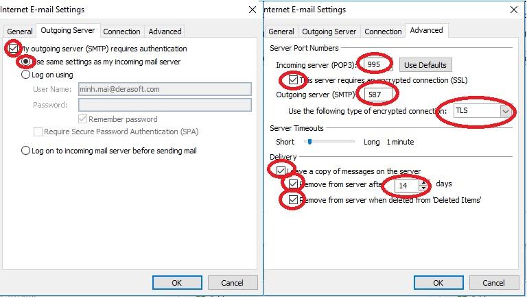 Hướng dẫn cấu hình Outlook để gửi và nhận email - SSL - Công